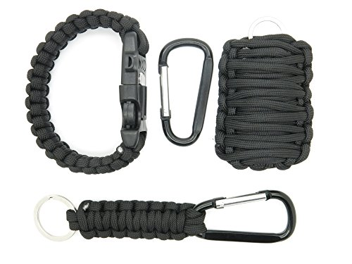 Survival Gear para cord, con allarme ying-yang Survival Whistle, para cord Rope and Fire Starter, Kit di sopravvivenza with Fishing Gear, Rope and Fire Starter para Cord, Key Ring with para cord Rope