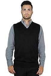 Blue Ocean Solid V-Neck Sweater Vest