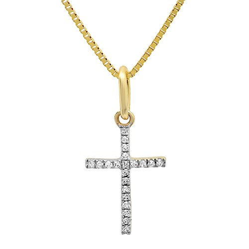 0.03 Carat (ctw) Dainty 14K Yellow Gold Round White Diamond Ladies Micro Pave Religious Cross Pendant