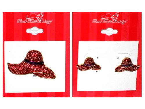 Red Hat Society Red Hat Pin and Earring Set