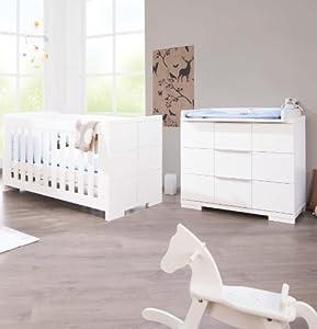 lit b b volutif et commode langer polar laqu e blanc mat b b s pu riculture. Black Bedroom Furniture Sets. Home Design Ideas