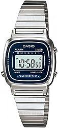 Casio Women's LA670WA-2 Silver Stainless-Steel Quartz Watch with Digital Dial