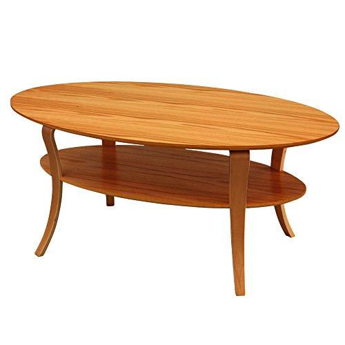 モダン 円形 コーヒー テーブル ダイニング 天然木製 机 ブラウン