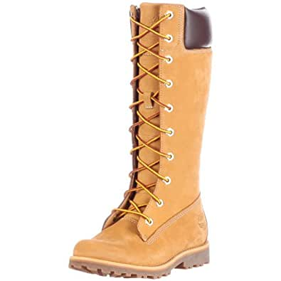 Timberland Asphalt Trail FTK_Girls Classic Tall Lace Up with Side Zip 83780, Mädchen Combat Boots, Gelb (Wheat Nubuck), EU 34 (US 2)