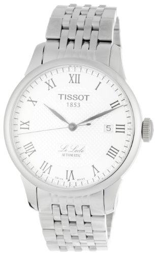 Tissot Men's Le Locle T41.1.483.33 Silver Stainless-Steel Swiss Automatic Watch with White Dial