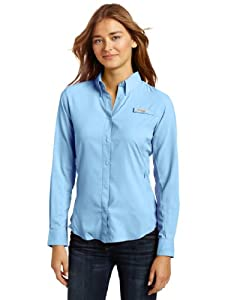 Columbia Women's Tamiami II Long Sleeve Shirt, White Cap(blue), Medium