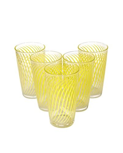 2 B Modern 1960s Set of 5 Designed Glass Tumblers, Yellow
