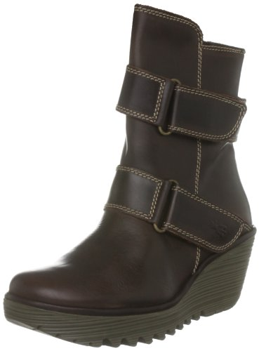 Fly London Women's Yaki Leather Dk Brown Platforms Boots P500227001 7 UK