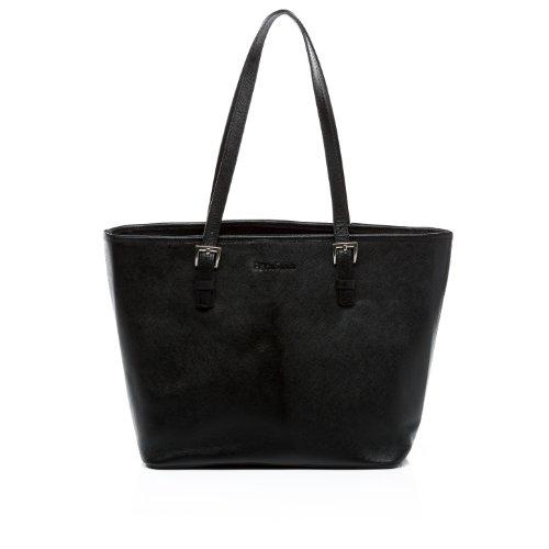 FEYNSINN borsa messenger GRACE - borsa a tracolla portatile - taglia L - saccoccia vera pelle stile serafino prada nero (38 x 25 x 14 cm)