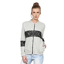 Kaxiaa Blended Grey Sweat Shirt For Women (Size-Medium)