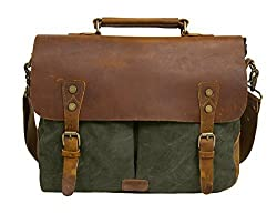 ECOSUSI Men's Vintage Genuine Leather Shoulder Messenger Laptop Briefcase Satchel Bag, Green