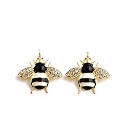Cute Enamel Rhinestone Honeybee Earrings Jewelry For Girls Ladies By JewelQueen
