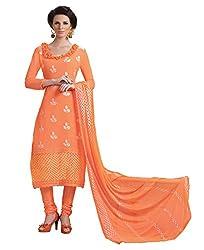 CreationBuddy Orange Embroidered Chiffon Salwar Suit Dress Material Chudidar Party,Festive