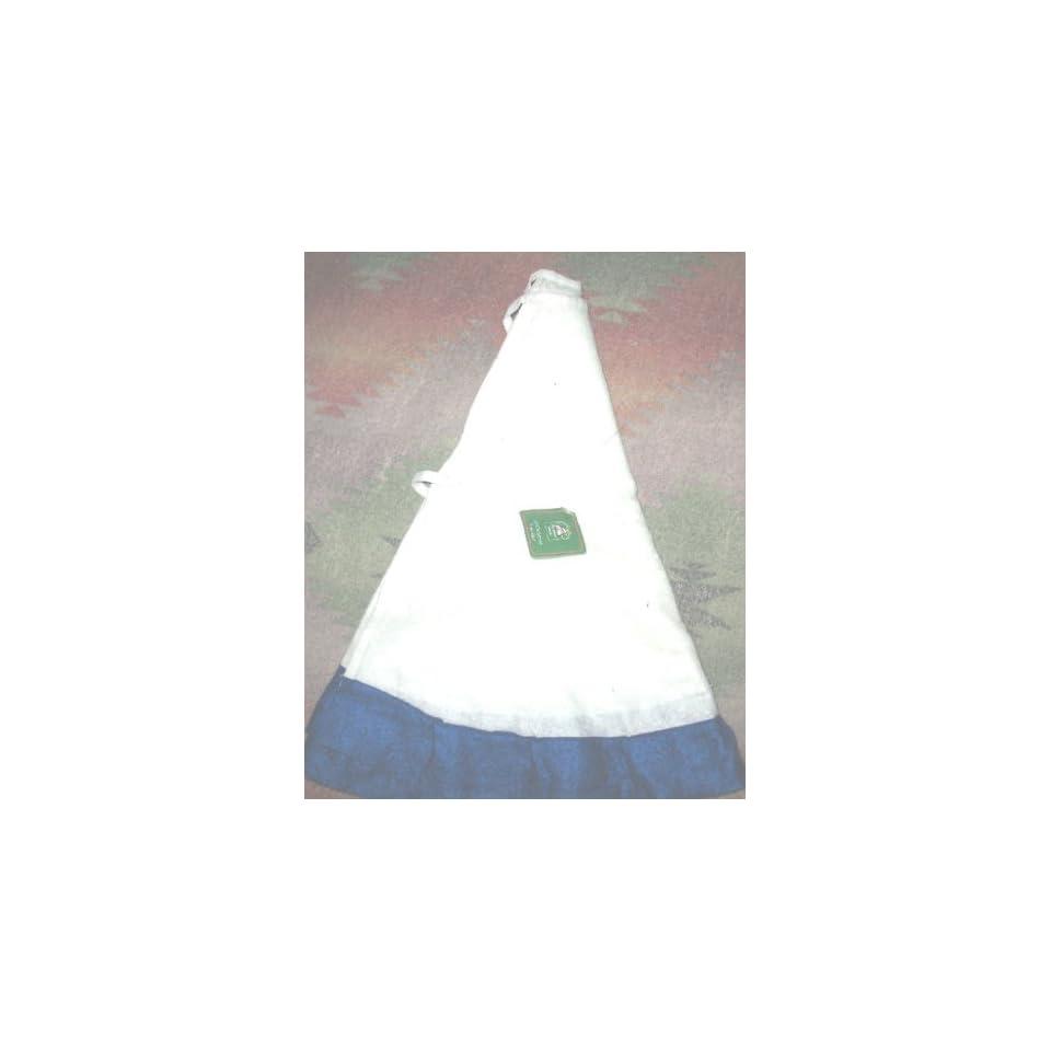 36 White & Blue Christmas Tree Skirt Custom Embroidered