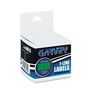 Garvey One-Line Pricemarker Labels, 7/16 x 13/16 Inches, Fluorescent Green, 1200/Roll, 3 Rolls/Box (063072)