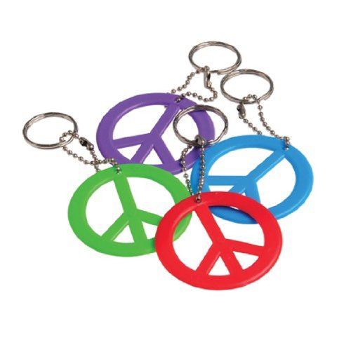 Dozen Assorted Color Peace Sign Key Chains Key Rings