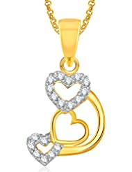 Meenaz Gold Plated Heart Pendant With Chain For Girls And Women PS380