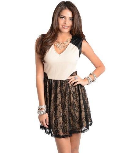 2Luv Women'S Contrast Lace Sleeveless Flouncy Dress Cream S(Jd2260)