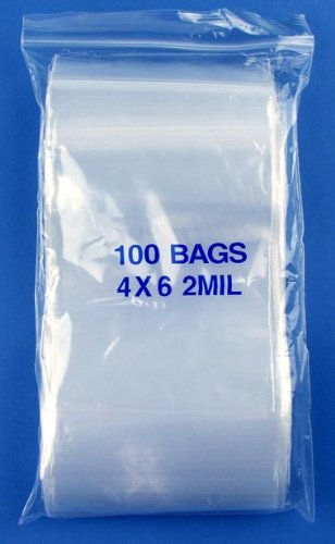"4"" x 6"", 2 Mil Clear Zip Lock Bags, 5 Packs of 100"