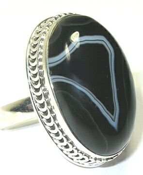 Banded Agate Sterling Silver Ring - Size 7.75
