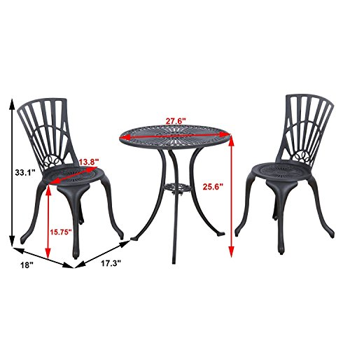 Outsunny 3 Piece Antique Style Outdoor Patio Bistro Dining Set - Black 1