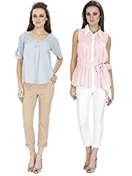 Lilium Combo Pack Of Candy Pink Alison Pleated Shirt With Naomi Tie Back Blouse In Winter Sky Color