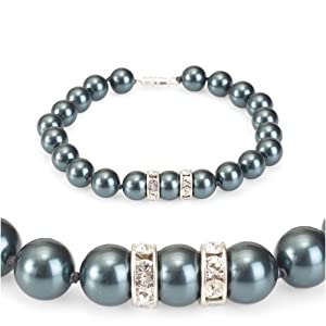 Olive n Figs' Crystal Pearl Bracelet with Rondelle - MADE WITH SWAROVSKI ELEMENTS - Tahitian (8mm)