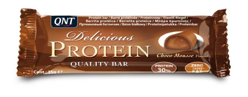 QNT Delicious Protein 35 g Chocolate Mousse Muscle Recovery and Energy Snack Bars - Box of 24
