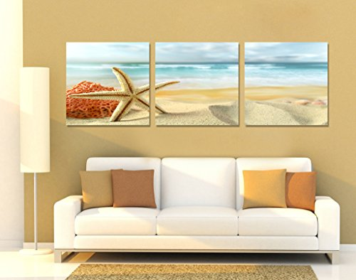 Spirit-Up-Art-Huge-Home-Decorations-Starfish-on-Beach-Canvas-Print-Modern-Wall-Painting-Art-set-of-3-Each-5050cm-14-225