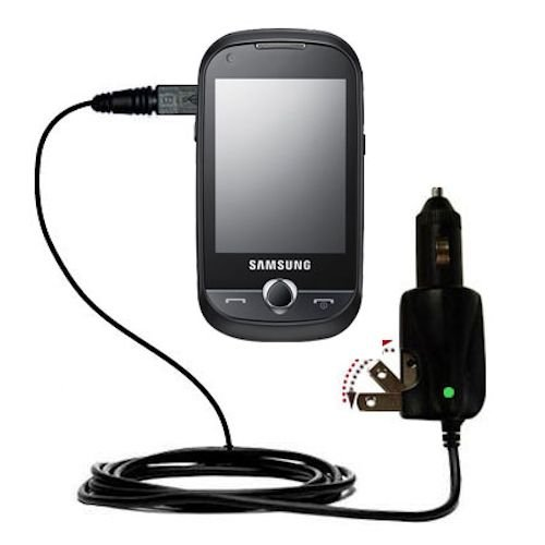 Intelligent Dual Purpose Dc Vehicle And Ac Home Wall Charger Suitable For The Samsung Gt-B5310R - Two Critical Functions, One Unique Charger - Uses Gomadic Brand Tipexchange Technology
