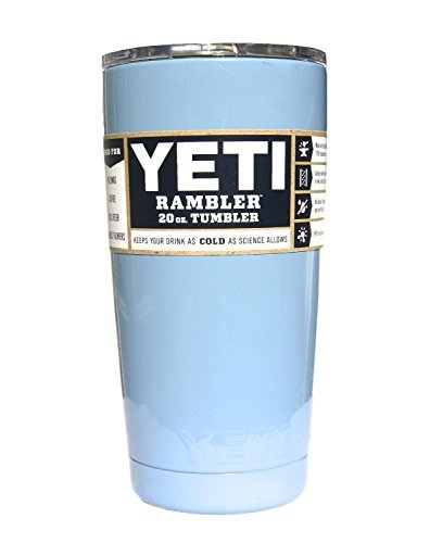 YETI Coolers Custom Stainless Steel 20 oz (20oz) Rambler Tumbler with Lid (Carolina Blue)