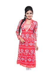Feminine's Women's Long 3/4th Sleeve Pink Kurti With Satin Lace Around Neck