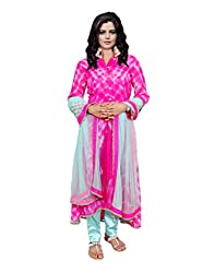 Indiweaves Women Semi Stitched Pink::Blue The and Dye Georgette and Net Lycra Satin Dress Material