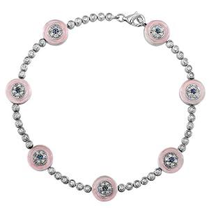 Evil Eye Diamond Bracelet with Pink Glass & Sapphire Eyes