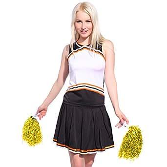 cheerleader kostuem uniform cheerleading cheer leader mit pompon minirock gogo damen maedchen. Black Bedroom Furniture Sets. Home Design Ideas