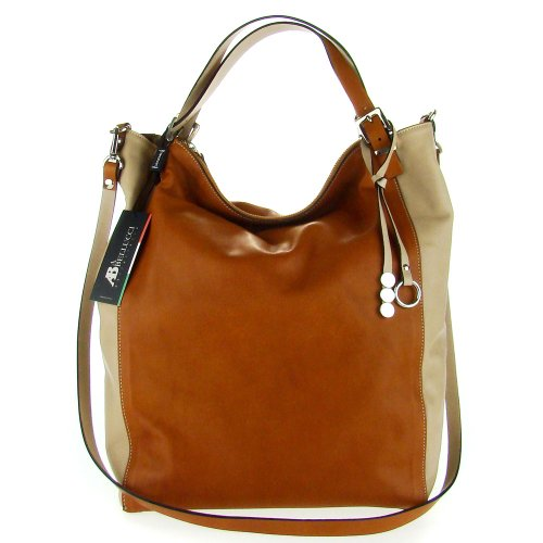 0c79e22916 ASIA BELLUCCI Italian Made Brown   Taupe Leather Large Carryall Designer  Tote
