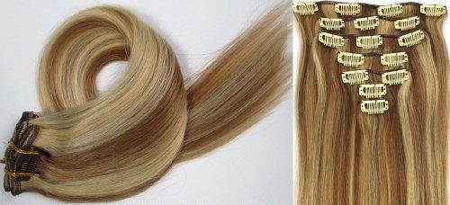 Clip-In-Extensions für komplette Haarverlängerung - hochwertiges Remy-Echthaar - 70g - 38 cm -7tlg- Nr.12/613 mischen