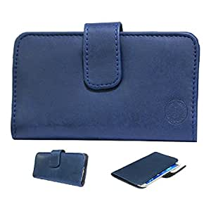 Jo Jo A8 Nillofer Leather Carry Case Cover Pouch Wallet Case For Spice Smart Flo Mi-359 Dark Blue