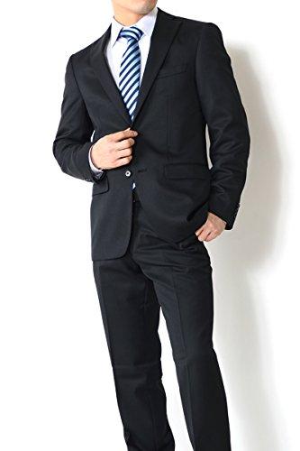 (アウトレットファクトリー)OUTLET FACTORY オールシーズン【リクルートにも最適!洗えるスラックス】 スマートモデル ブラック 無地 2ボタンスーツ メンズスーツ A4