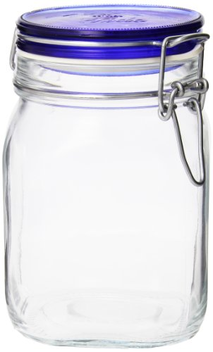 Bormioli Rocco Fido Square Jar with Blue Lid, 33-3/4-Ounce