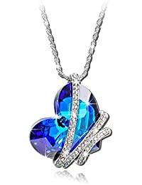 Sansar India Blue Crystal AB Heart Pendant Romantic Love Necklace For Girls And Women