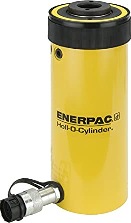 "Enerpac RCH-206 Single-Acting Hollow-Plunger Hydraulic Cylinder with 20 Ton Capacity, Single Port, 6.10"" Stroke Length"