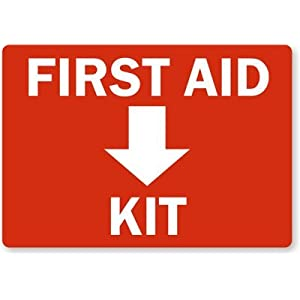 "First Aid Kit Inside (with Symbol), HDPE Plastic Sign, 14"" x 10"