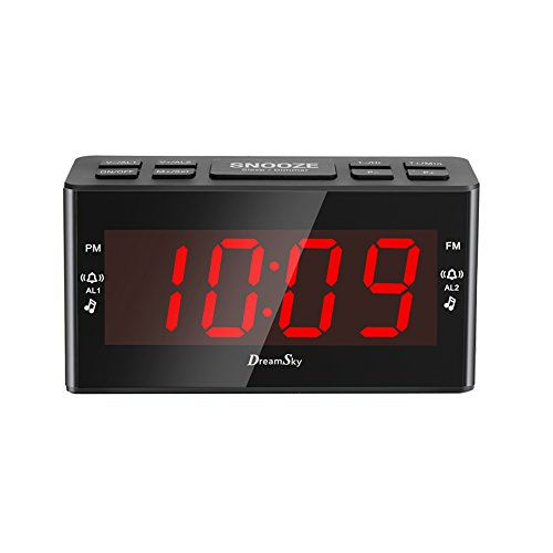 DreamSky FM Clock Radio With Dual Alarms ,Large Led Number Display ,Battery Backup And Sleep Timer (Dual Alarm Clock Large Display compare prices)