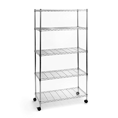Seville Classics UltraZinc 5-Shelf Home-Style Steel Wire Shelving Storage Rack with Wheels, 14 x 30 x 60