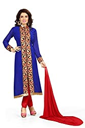 BanoRani Blue Color Faux Georgette Embroidery,Zari & Lace work Unstitched Dress Material