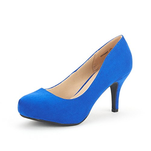 DREAM PAIRS TIFFANY Women's Bridal Wedding Party Glitter Rhinestone Low Heel Platform Pump Shoes Royal-Blue Size 9