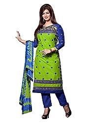 Varanga Green Embroidered Dress Material with Matching Dupatta KFCRI3606