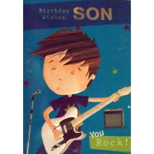 "Amazon.com : Boys Navy Blue, Silver & Blue ""Birthday Wishes, Son"" ""You"