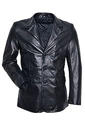 Smart Range Men\'s Classic Blazer Tailo Soft Real Nappa Leather Jacket Coat Medium Black